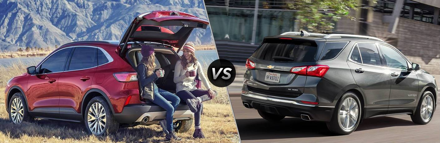 """Two women sit in the cargo hatch of a 2020 Ford Escape in nature. a 2020 Chevrolet Equinox drives on a road. The two images are separated by a diagonal line and a """"VS"""" logo."""