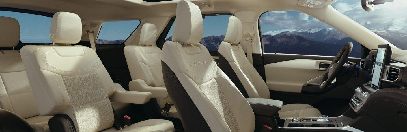 Three rows of seats inside 2020 Ford Explorer