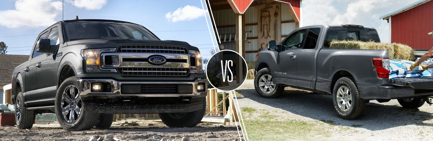 Gray Ford F-150 and Nissan TITAN models in comparison image