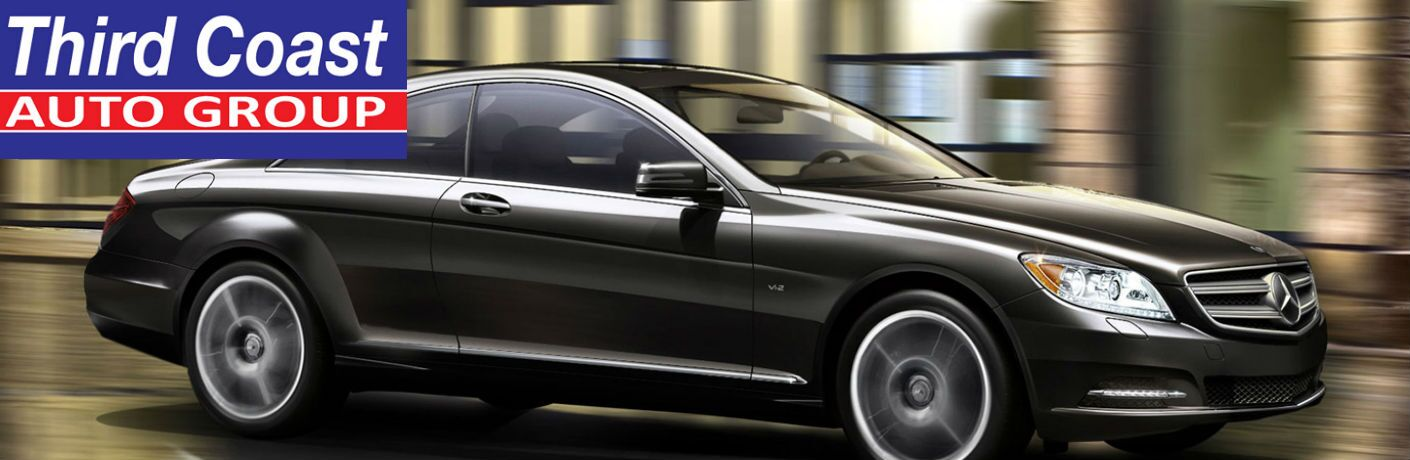 2014 Mercedes-Benz CL-Class sedan and the Third Coast Auto Group logo