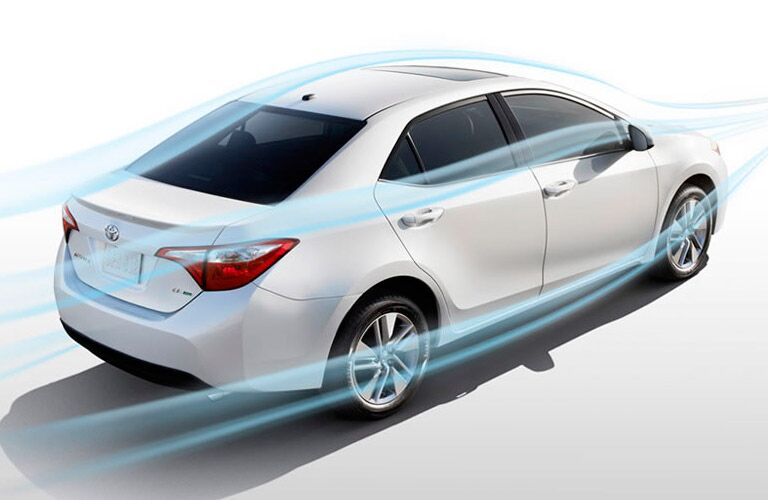 aerodynamics of a white 2014 Toyota Corolla