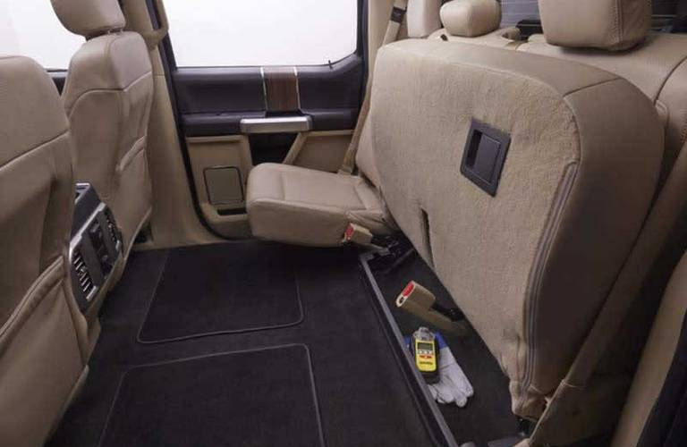 folded rear seats of the 2016 Ford F-150