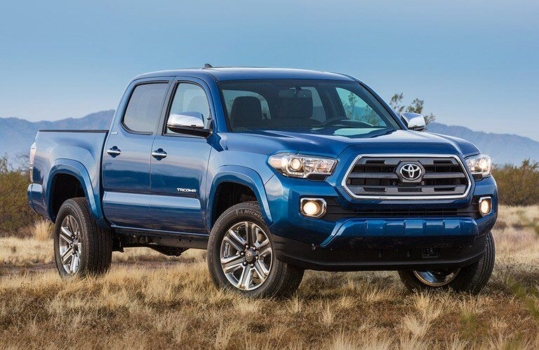 blue 2016 Toyota Tacoma in a field