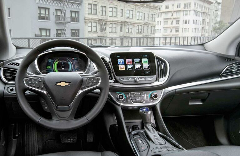 Interior front cabin of a 2017 Chevrolet Volt.