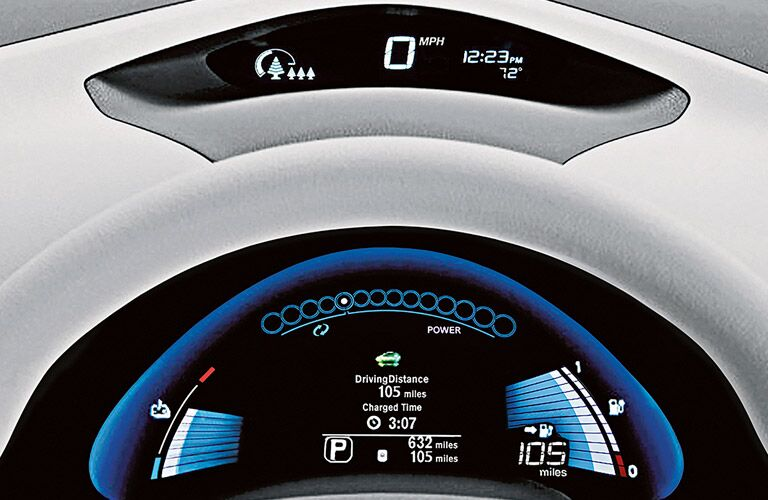 Interior dashboard screen view of some statistics regarding driving on a 2017 Nissan Leaf.