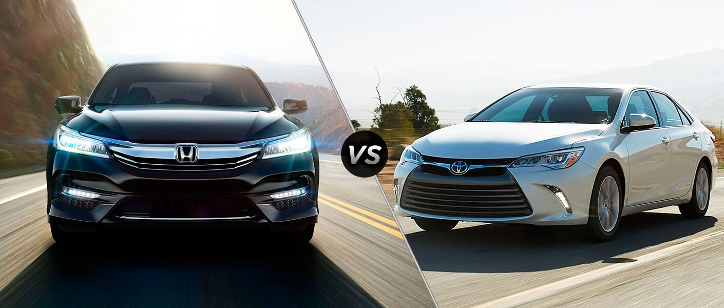 """Honda and Toyota models from a few years back, separated by a diagonal line and a """"VS"""" logo."""