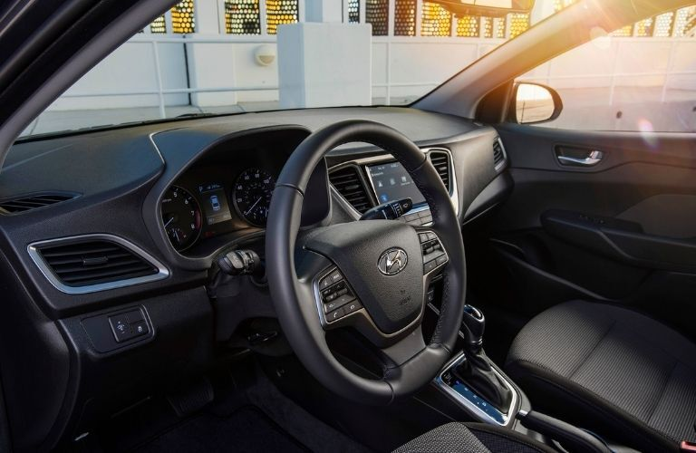 2021 Hyundai Accent steering wheel and dashboard