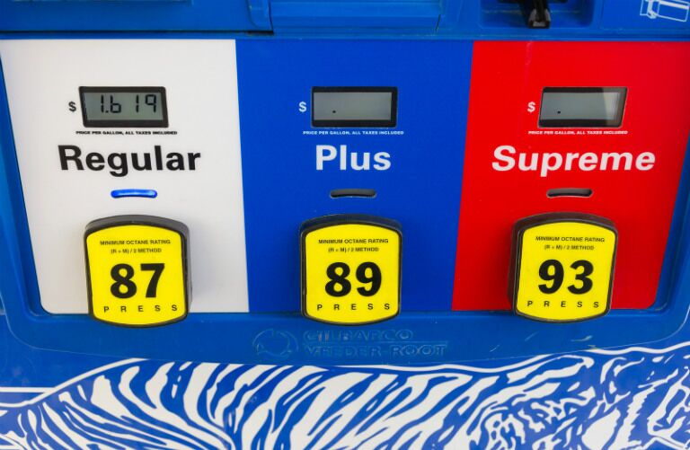 Three different gas pump options - regular, plus, and supreme - with their respective fuel grade numbers on each button.