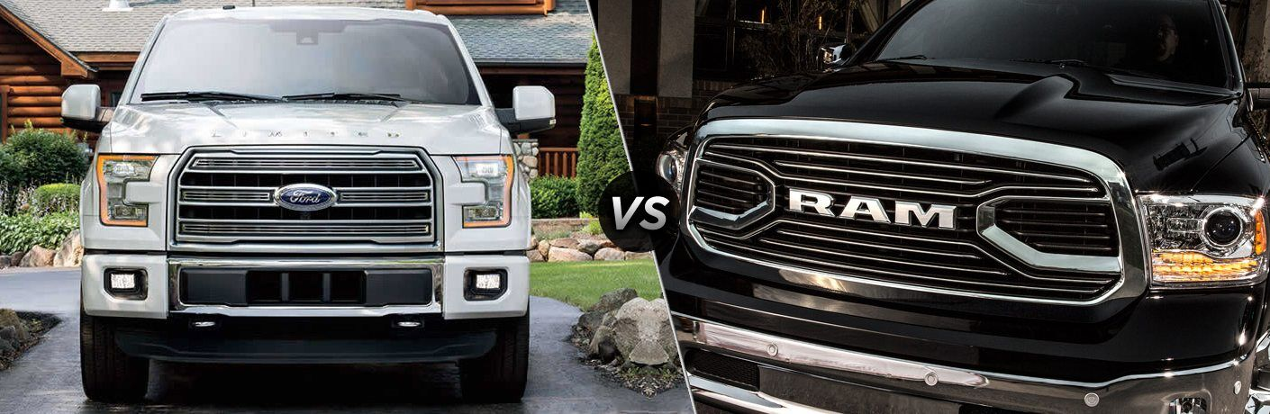 A white Ford F-150 and black RAM 1500