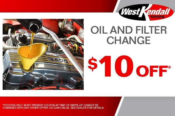 For A Limited Time, You Can Save $10 Off Your Next Oil And Filter Change.  Only At West Kendall Toyota In Miami, FL, Also Serving Kendall.
