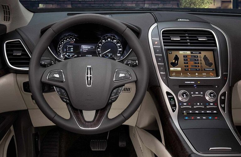 steering wheel and infotainment system of the 2018 Lincoln MKX