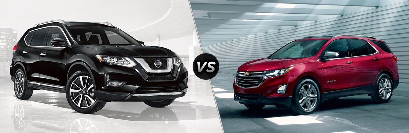 side view of a black 2018 Nissan Rogue and red 2018 Chevy Equinox in a comparison image