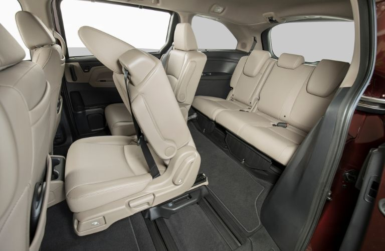 Interior view of the rear seating area inside a 2020 Honda Odyssey