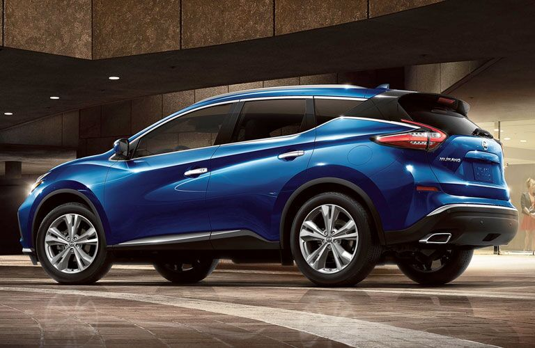 side view of the blue 2020 Nissan Murano