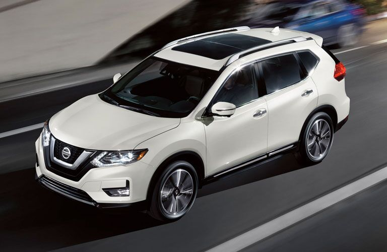 Exterior view of the front of a white 2020 Nissan Rogue