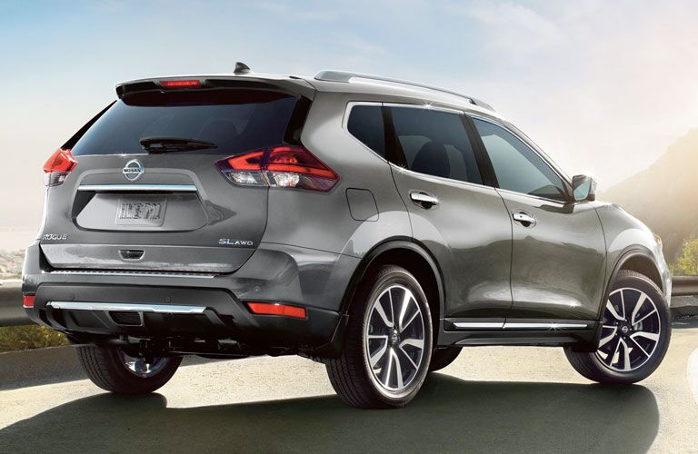 Exterior view of the rear of a gray 2020 Nissan Rogue