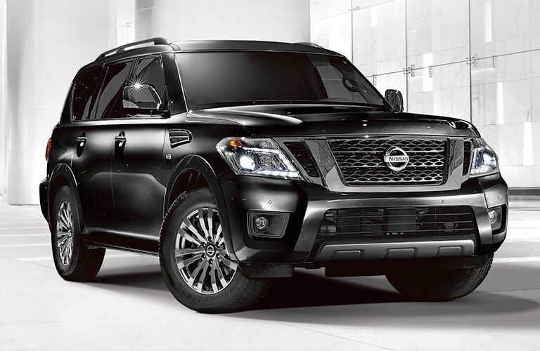 2019 Nissan Armada black parked in white room