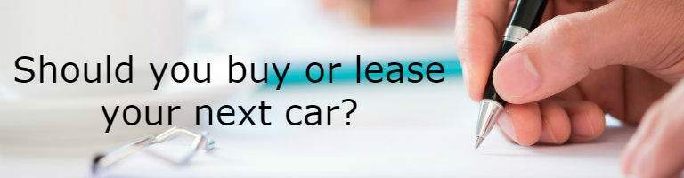 "person signing a contract with the words ""Should you buy or lease your next car?"""