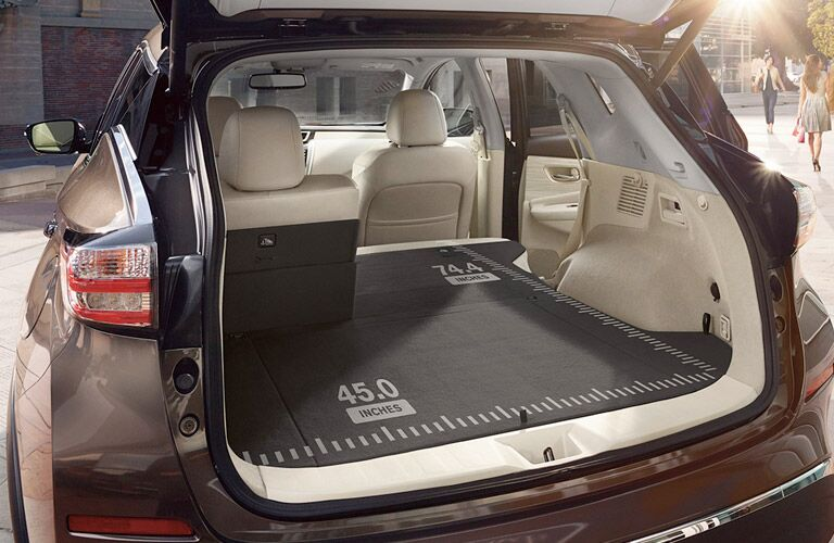 2017 Nissan Murano interior cargo space with second row folded