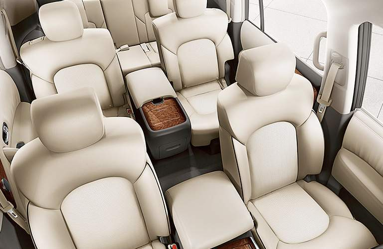Interior of the 2018 Nissan Armada looking from the front toward the back
