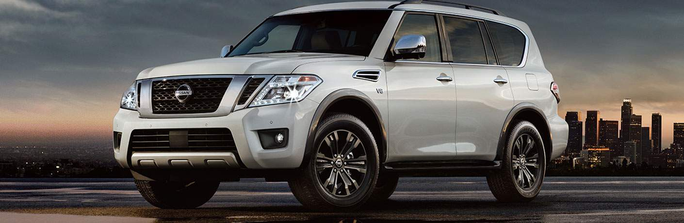 2018 Nissan Armada parked at a quarter turn in front of a cityscape