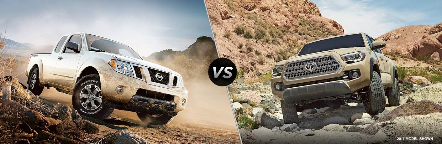 2018 Nissan Frontier in a desert environment vs 2017 Toyota Tacoma on rocky terrain