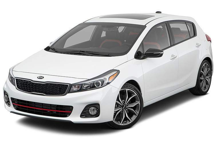 A front left quarter view of a white Kia Forte5 on a white background