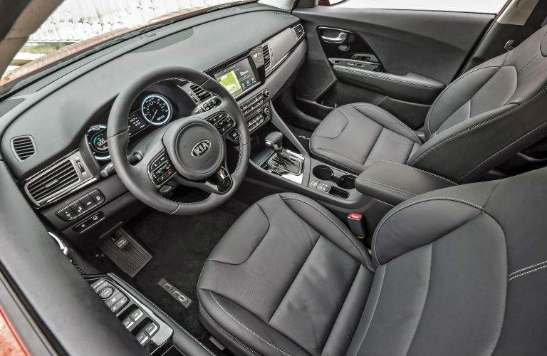 An overhead photo of the front seat of the 2018 Kia Niro