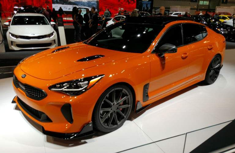 A front left quarter photo of the 2018 Kia Stinger at the Chicago Auto Show