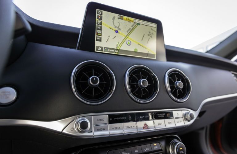A photo showing a navigation system on the touchscreen interface of the 2018 Kia Stinger.