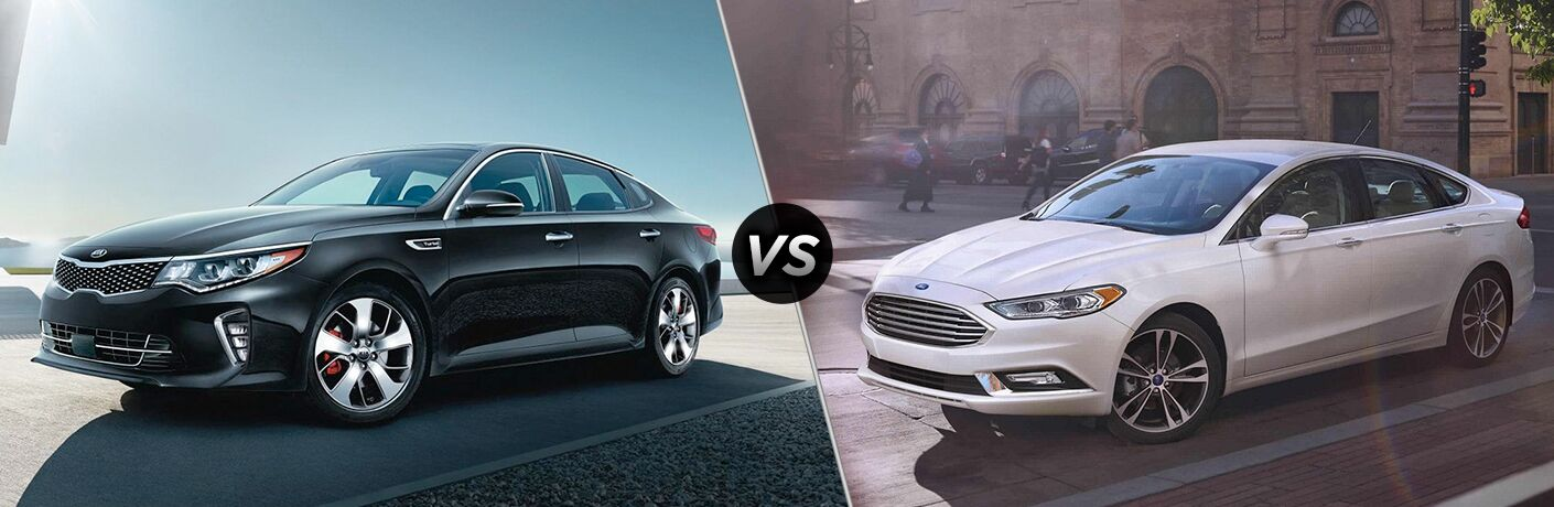 Another side-by-side comparison of the 2018 Kia Optima vs. 2018 Ford Fusion showing a left profile view of both sedans.
