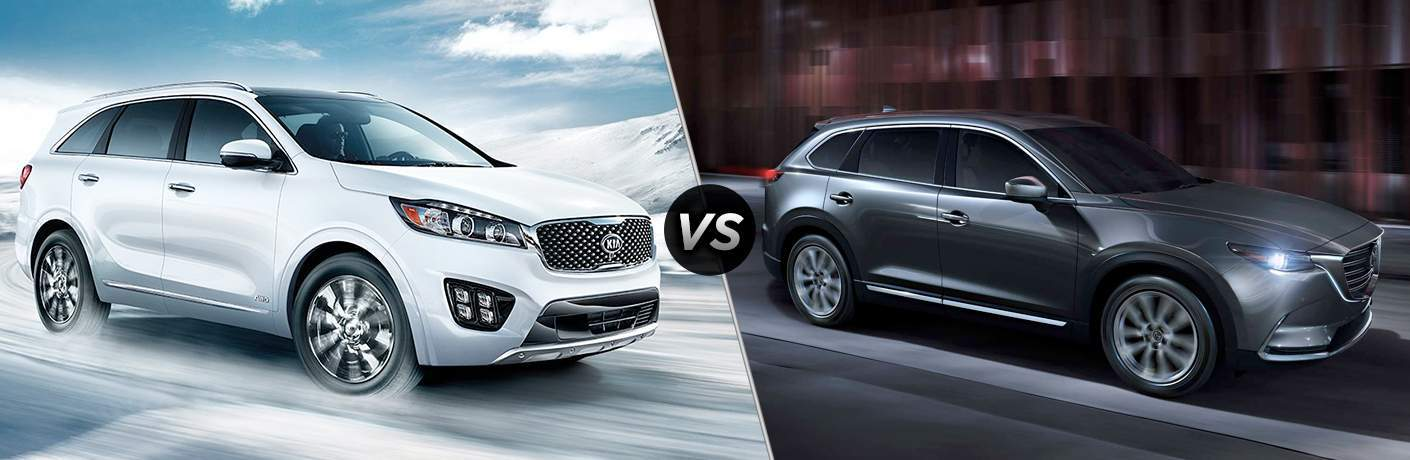 A 2018 Kia Sorento and 2018 Mazda CX-9 sitting side-by-side in a photo illustration