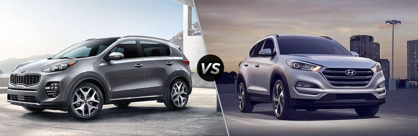 A photo illustration of the 2018 Kia Sorento compared to a 2018 Hyundai Tucson