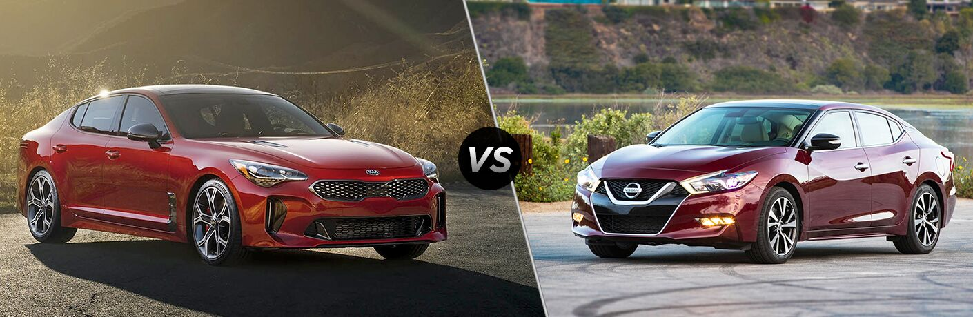 A side-by-side comparison of the 2018 Kia Stinger vs. 2018 Nissan Maxima.
