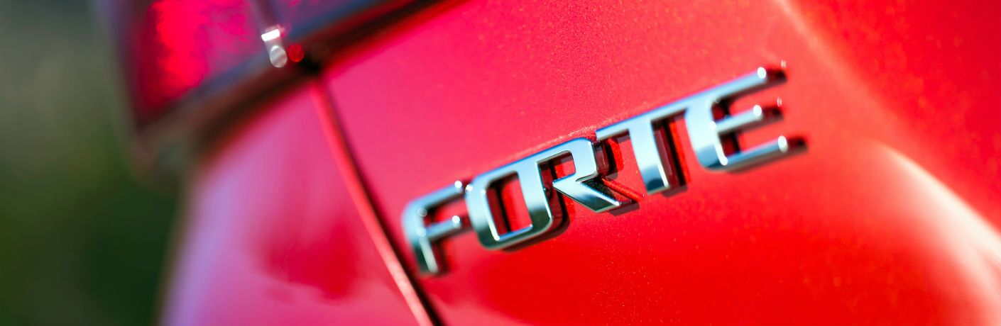 A close up photo of the Forte badge used by the 2019 Kia Forte.