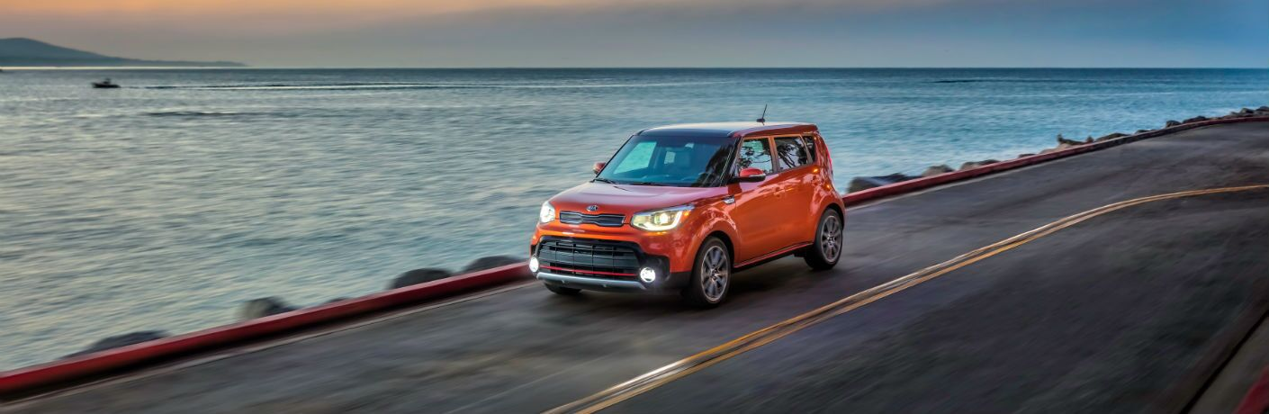 A front left quarter photo of the 2019 Kia Soul on the road.