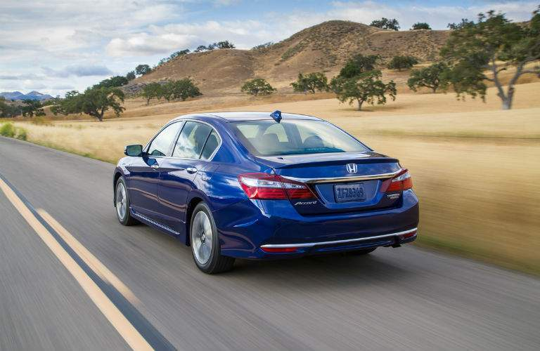 2017 Honda Accord Hybrid in blue rear end view