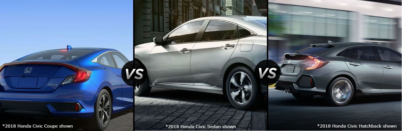 2018 Honda Civic Coupe vs Sedan vs Hatchback