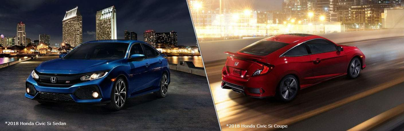 2018 Honda Civic Si Sedan and Coupe in a city at night