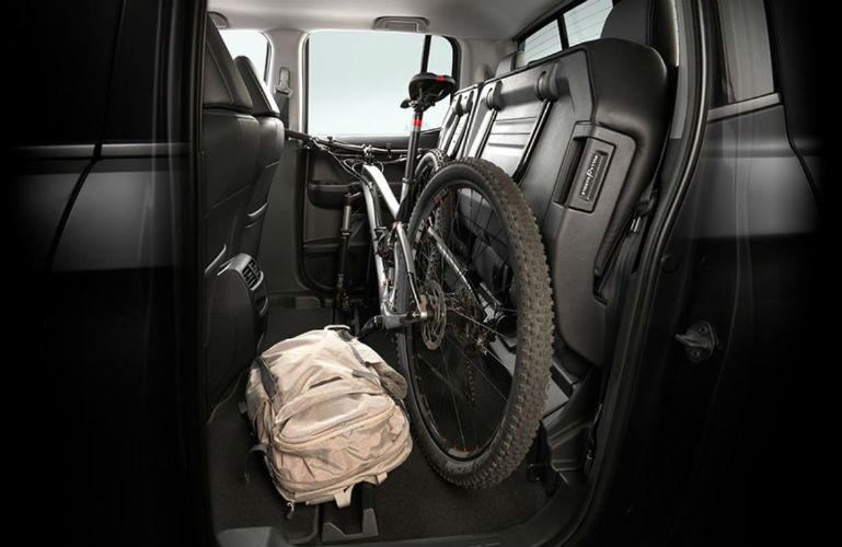 2019 Honda Ridgeline rear seat up with bike and backpack