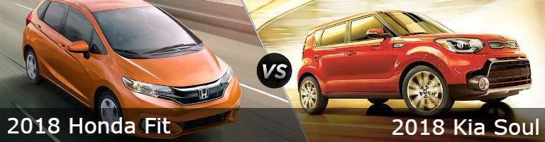 Orange 2018 Honda Fit vs a red 2018 Kia Soul