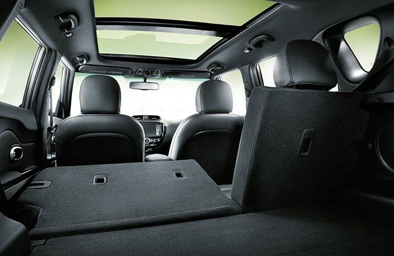 view of the 2017 Kia Soul interior space second row seat folded