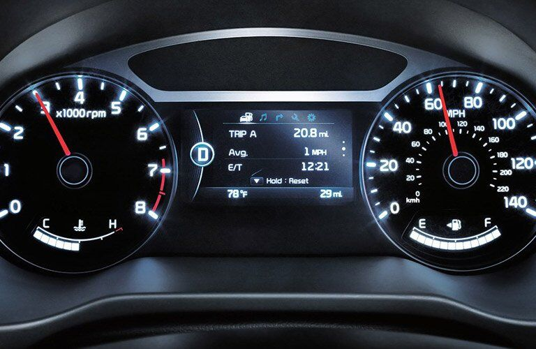 view of the 2017 Kia Soul dashboard gauges and trip computer