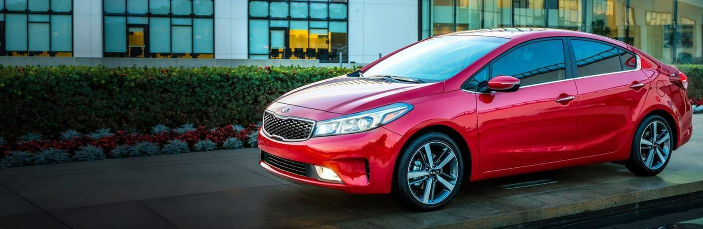 view of the 2018 Kia Forte in red from the side
