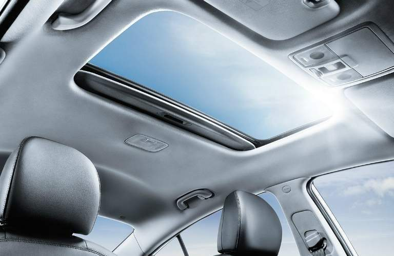 the sunroof in the 2018 kia forte from a downward angle