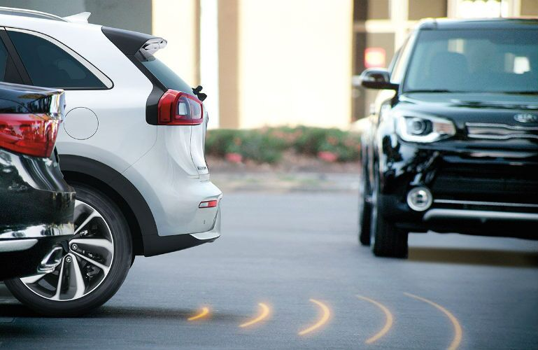2019 Kia Niro using Rear Cross Traffic Alert system