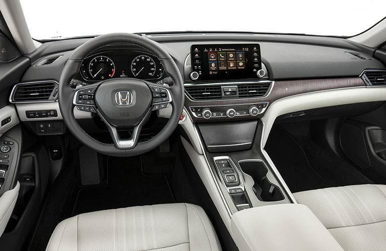 Interior of 2018 honda accord seen from drivers seat with infotainment screen and more visible