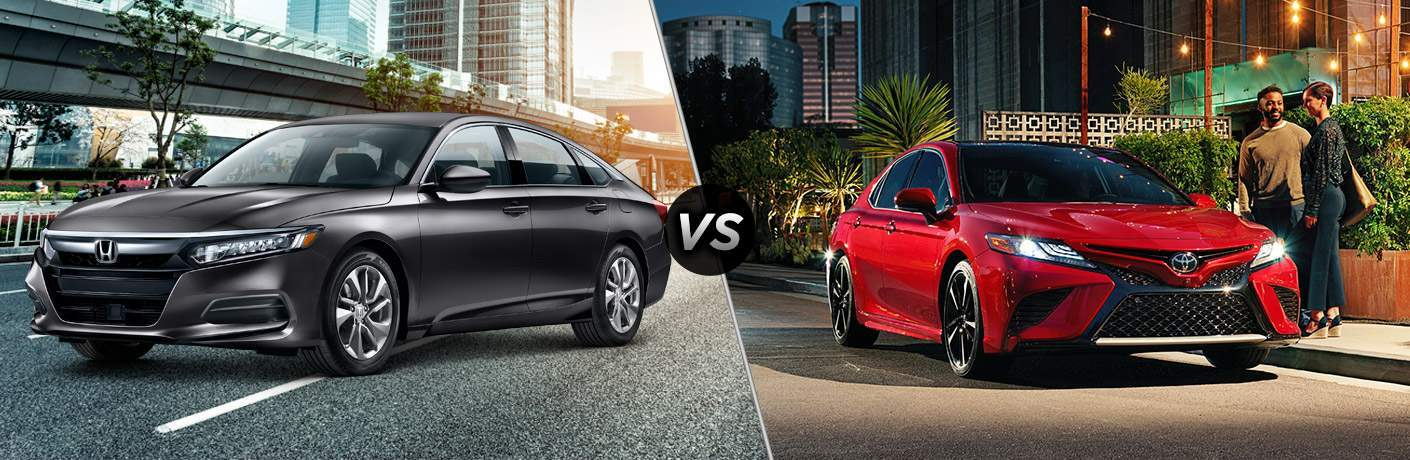 2018 Honda Accord and 2018 Toyota Camry shown one against the other with accord in silver and camry in red