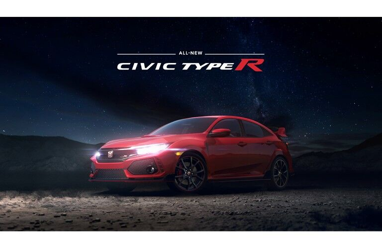2018 Honda Civic Type R banner ad with model in the dark parked in a desert with headlight on