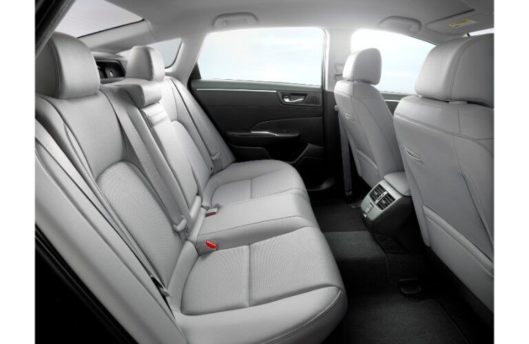 2018 Honda Clarity Electric interior side shot of back row leather seating upholstery